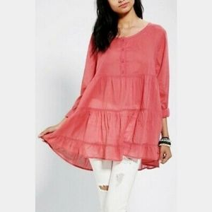 Ecoté Tiered Long Sleeve Tiered Babydoll Top, S